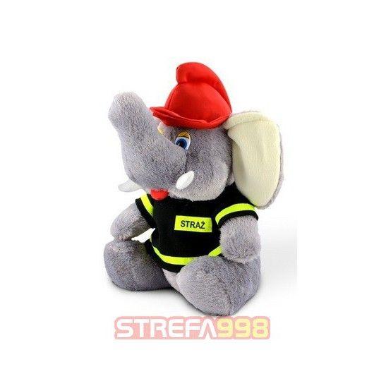 Maskotka słoń strażak średni