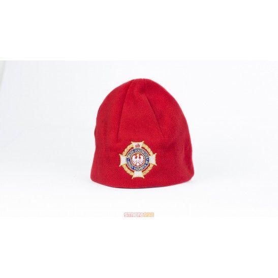 Czapka zimowa z polaru czerwona. Logo ZOSP RP